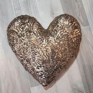 Gold Sequin Heart Shape Pillow by Atsuyo NEW!